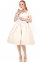 Ava Swingdress in Ivory Stretch Tafetta