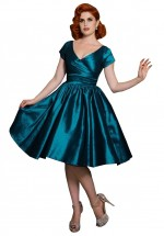 Ava Swingdress in Turquoise Stretch Tafetta