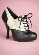 50s Classy Cream and Black Lace Up Booties