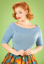 50s Bridgette Knitted Top in Bluebell