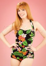 50s Classic Sheat Floral Swimsuit in Black