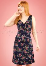 60s Ginger Farewell Dress in Ink Blue