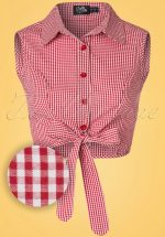50s Clementine Gingham Top in Red and White