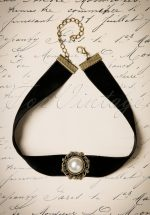 20s Victoria Big Pearl Choker in Black