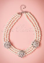 40s Daisy Diamonds and Pearls Necklace