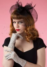 50s Lady Mary Romantic Polkadot Lace Gloves in Ivory