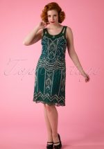 20s Ziegfeld Flapper Dress in Emerald Green