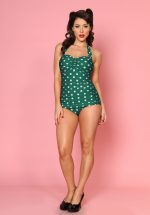 50s Classic Sheat Polkadot Swimsuit in Green and White