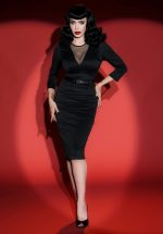 50s Deadly Dames Misfits Pencil Dress in Black
