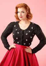 50s Sweet Emotion Bow Cardigan in Black