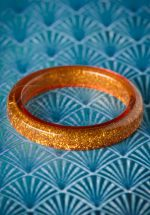 TopVintage Exclusive ~ 20s Fedora Midi Glitter Bangle in Old Gold