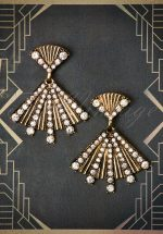 30s Rosalie Fan Earrings in Antique Gold