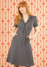 50s Bibi Spiral Dress in Dark Navy