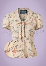 40s Tura Swallow Blouse in Cream