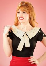 40s Frou Frou Retro Style Top in Black and Cream