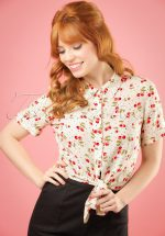 50s Sammy Cherry Tie Blouse in Ivory