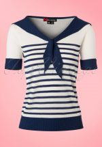 50s Coco Sailor Top in Navy and Ivory