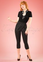 50s Kay Polkadot Capri Pants in Black
