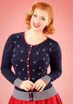 50s Close Call Cardigan in Navy