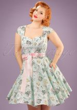 50s Easter Bunny Swing Dress in Mint