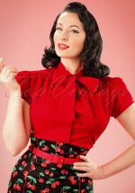 40s Estelle Blouse in Lipstick Red