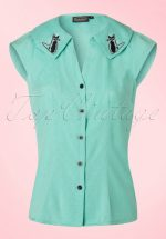50s Maya Cat Blouse in Mint Green