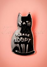 60s Please Adopt Cat Brooch in Black