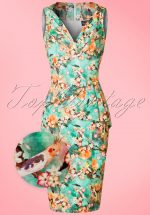 50s Jessa Floral Pencil Dress in Green