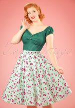 50s April Cherry Swing Skirt in Mint Green