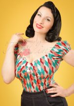 50s Dolores Atomic Harlequin Top in Red and Jade