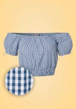 50s All Mine Gingham Top in Navy
