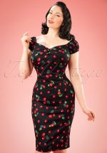 50s Dolores Cherry Dress in Black