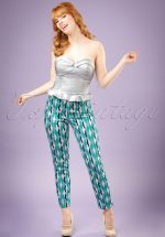 50s Bonnie Atomic Harlequin Trousers in Blue and Jade