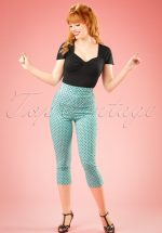 50s Kay Polkadot Capri Pants in Aqua Blue