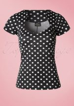 50s Sophia Polkadot Top in Black and White