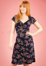 60s Gina Farewell Dress in Ink Blue