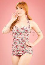 50s Romance Floral One Piece Swimsuit in Cream