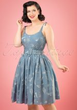 50s Jade Seashell Swing Dress in Denim Blue