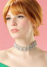 40s Floral Crystal Choker in Silver