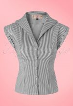 50s Willow Stripes Blouse in Charcoal and White