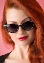 50s Vintage Cat Eye Diamond Sunglasses in Black