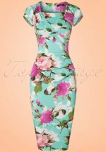 50s Laila Floral Pleated Pencil Dress in Mint Blue
