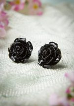 50s English Rose Earstuds Black