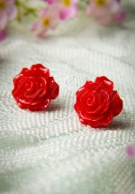 50s English Rose Earstuds Red