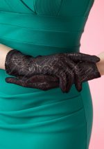 50s Rosy Romantic Black Lace Gloves