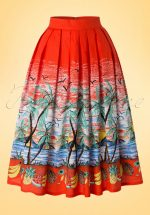 50s Gloria Copacabana Swing Skirt in Tangerine