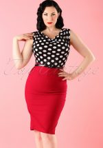 60s Vixen Ramona Wiggle Dress red polka
