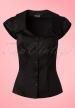 50s Julie Blouse in Black