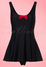 TopVintage Exclusive ~ 50s Shelley Bow Swimsuit in Black and Red