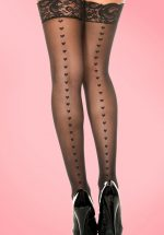50s Heart Back Seam Hold Ups in Black